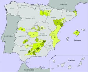 mapa con denominaciones de origen de aceite de oliva